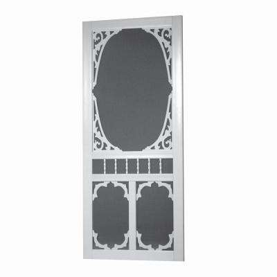 36 in. x 80 in. Charlestowne Solid Vinyl White Screen Door