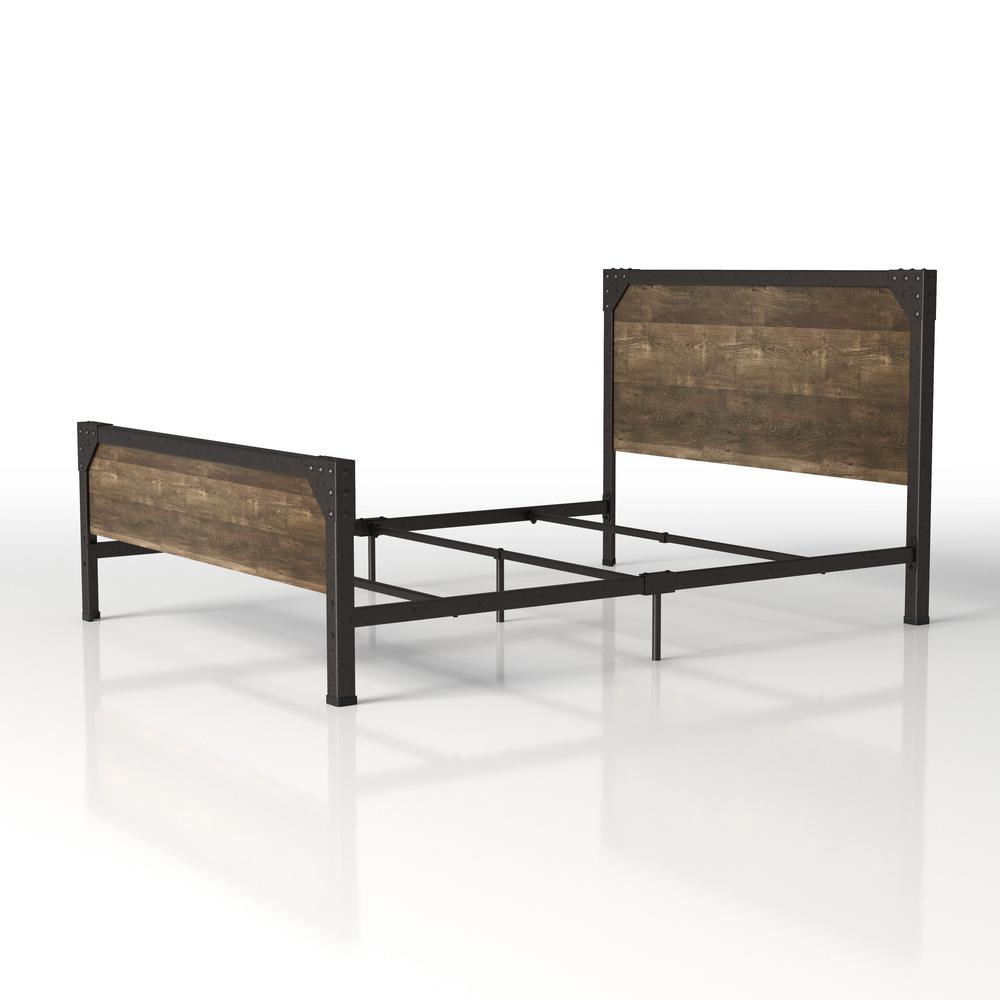 Zevi Reclaimed Oak Queen Panel Bed
