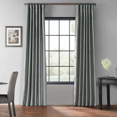 Storm Grey Gray Blackout Vintage Textured Faux Dupioni Curtain - 50 in. W x 120 in. L