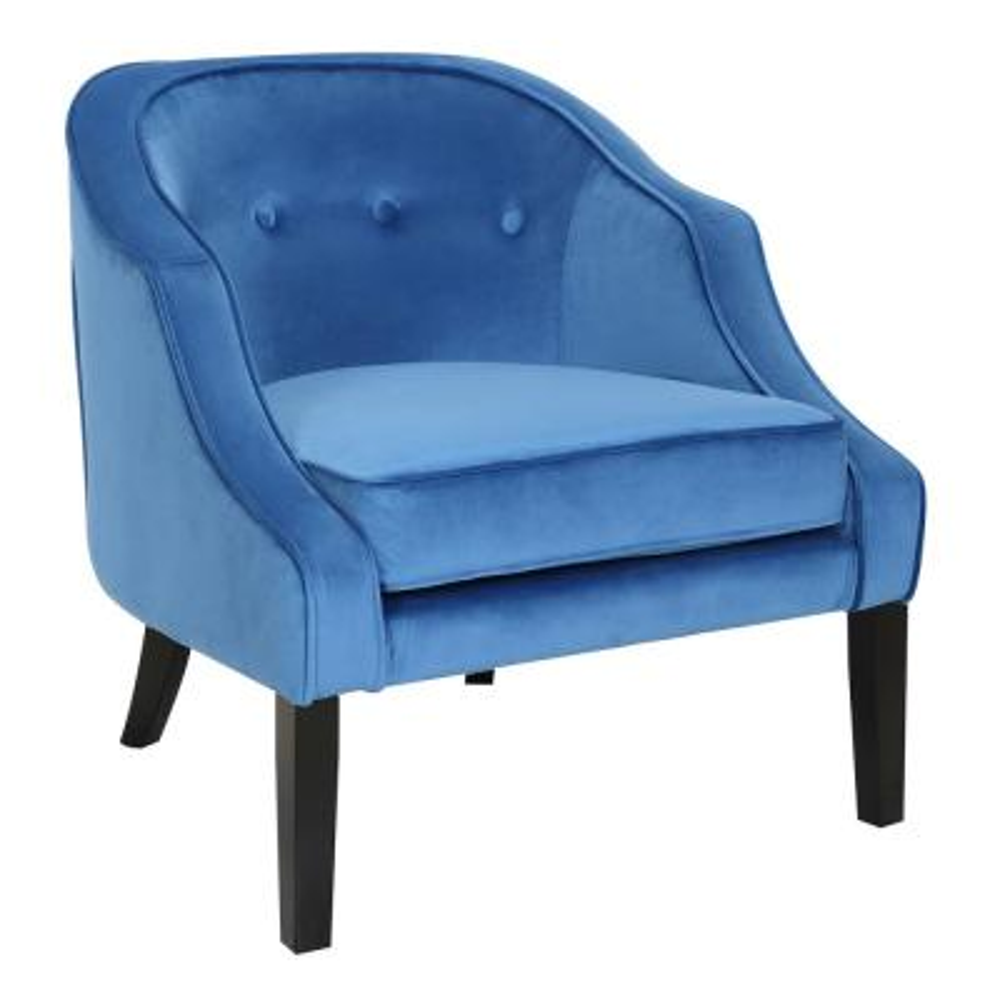 Sofia Blue and Black Velvet Accent Chair