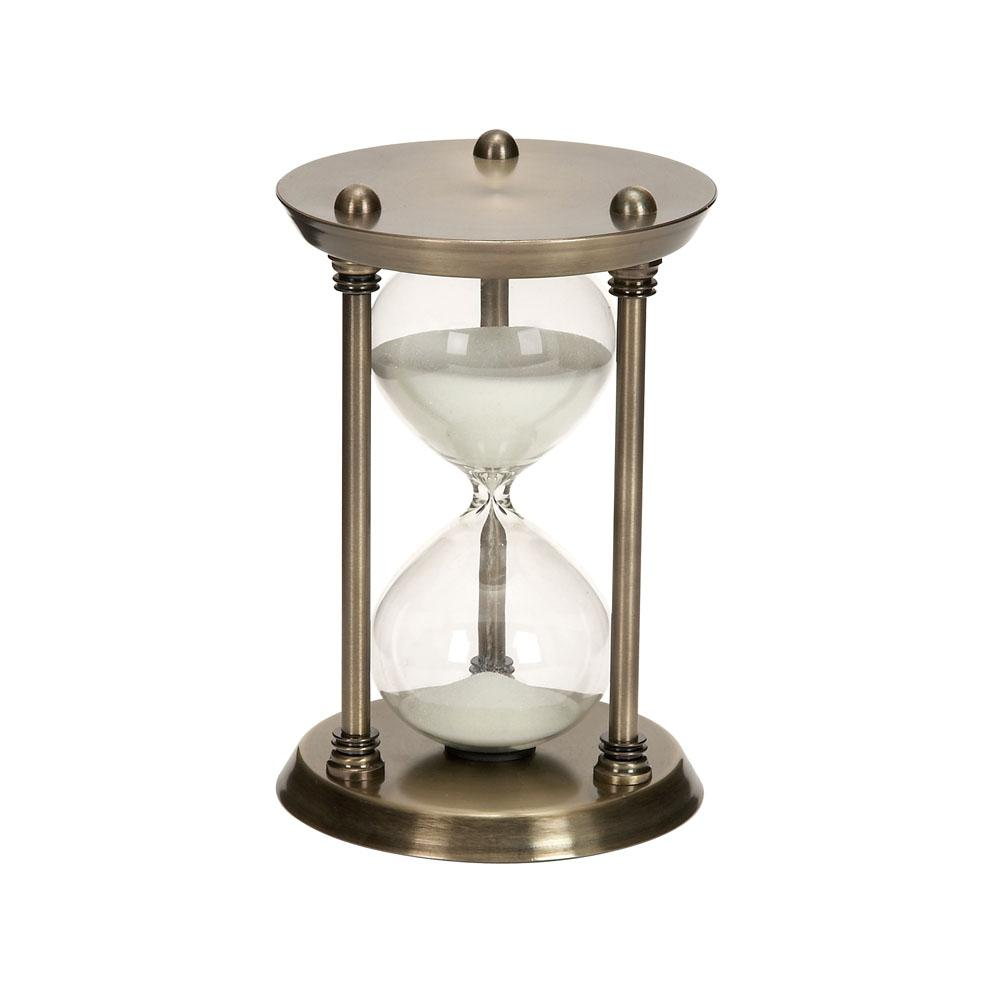 Brass Brown Iron and Clear Glass 30-Minute Sand Timer