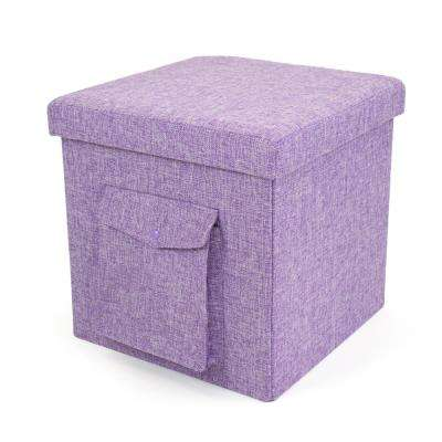 15 in. x 15 in. x 15 in. Purple Folding Storage Ottoman Cube with Exterior Multi-Purpose Pocket
