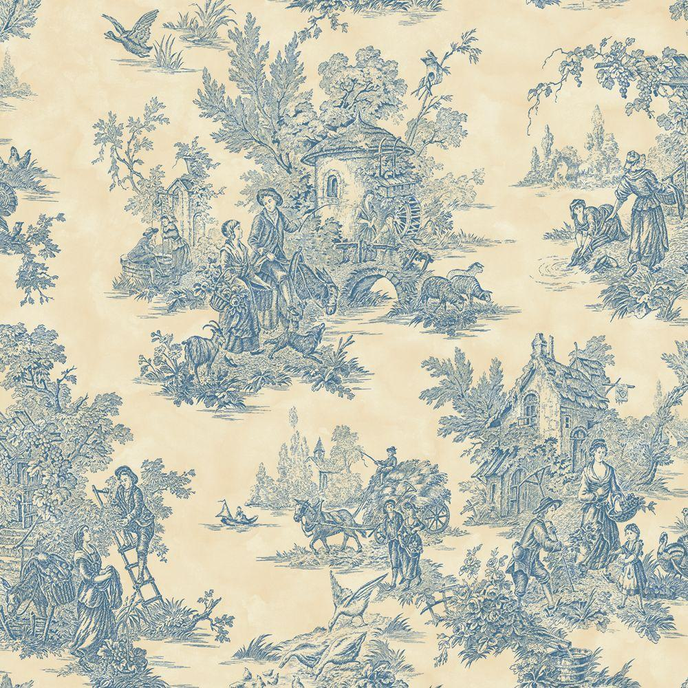 The Wallpaper Company 56 sq. ft. Blue and Cream Large Scale Classic Toile Wallpaper-DISCONTINUED