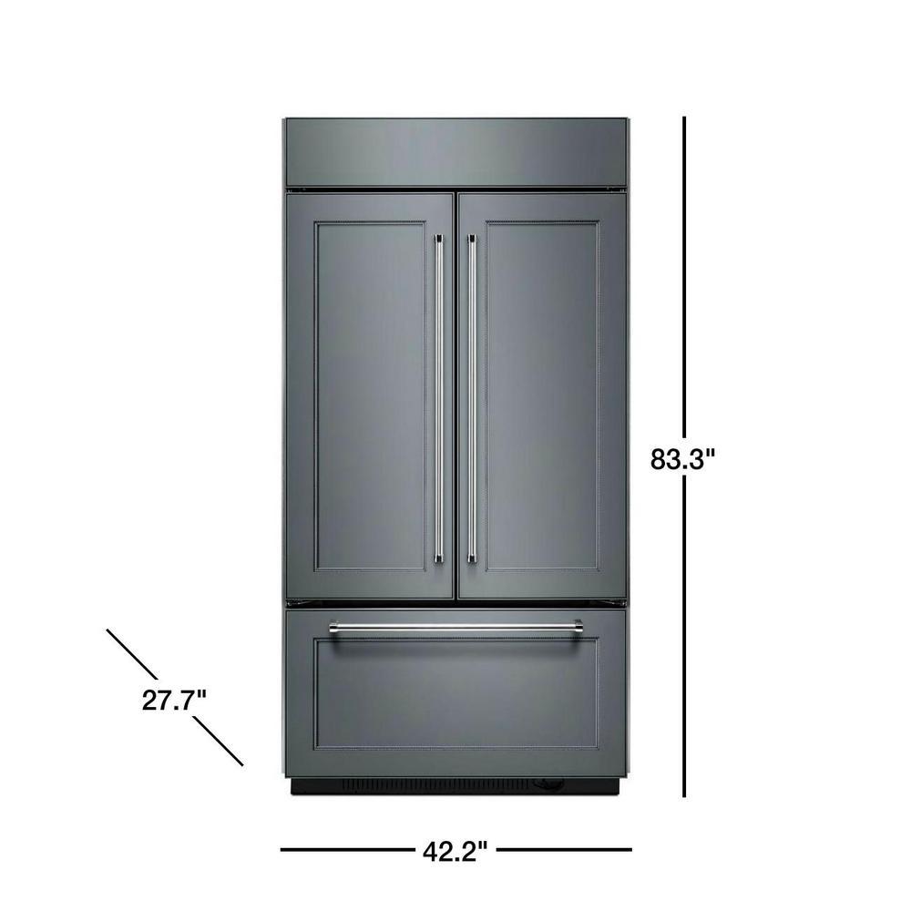 KitchenAid 24.2 cu. ft. Built-In French Door Refrigerator in Panel Ready,  Platinum Interior