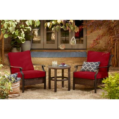 Harper Creek 3-Piece Brown Steel Outdoor Patio Chair Set with CushionGuard Chili Red Cushions