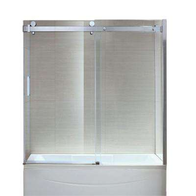 Sierra 59.2 in. x 59 in. Frameless Sliding Tub Door in Chrome