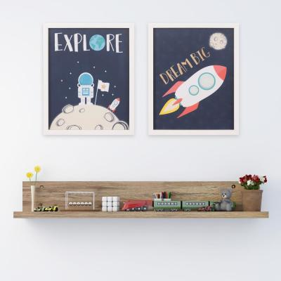 18 in. x 22 in. Dream Big & Explore Space Ship Framed Wall Art (Set of 2)