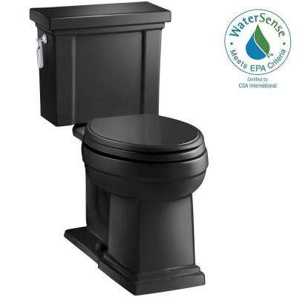 Tresham 2-piece 1.28 GPF Elongated Toilet with AquaPiston Flush Technology in Black Black