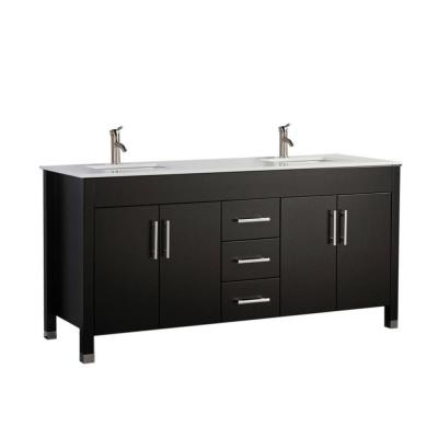 Moselle 63 in. W x 22 in. D x 35 in. H Vanity in Espresso with Ceramic Vanity Top in White with White Basin