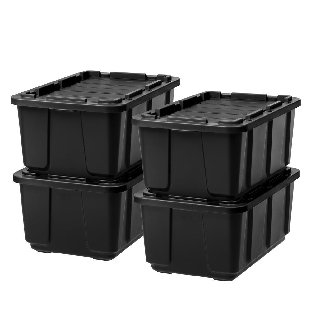 27 Gal. Storage Tote in Black with Black Lid (4-Pack)