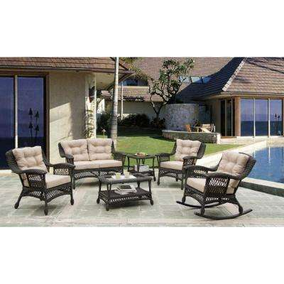 Cappuccino Collection 6-Piece Wicker Patio Conversation Set with Light Brown Cushions