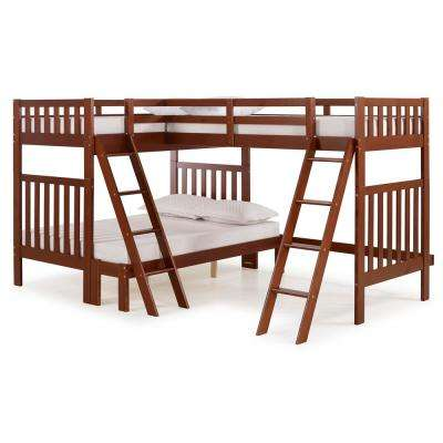 Aurora Chestnut Twin Over Full Bunk Bed with Tri-Bunk Extension