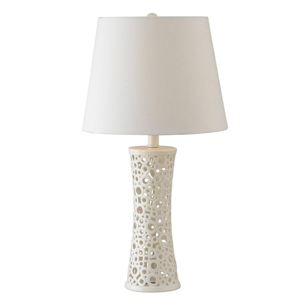 Kenroy home glover 26 in white table lamp 21056wh the home depot mozeypictures Image collections