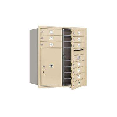3700 Series 34 in. 9 Door High Unit Sandstone USPS Front Loading 4C Horizontal Mailbox with 10 MB1 Doors/1 PL6