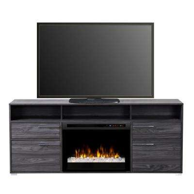 fireplaces with glass rocks. Freestanding Electric Fireplace TV Stand Media Console in Carbon Hidden Storage  Decorative Fire Glass Rocks Stands