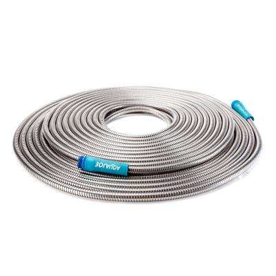 1/2 in. Dia x 100 ft. Heavy-Duty Spiral Constructed Stainless Steel Metal Garden Hose