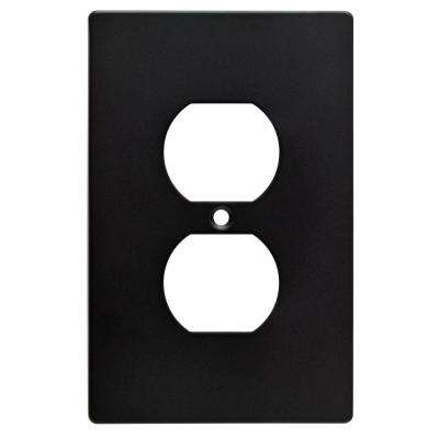 Subway Tile Decorative Single Duplex Outlet Cover, Flat Black (4-Pack)
