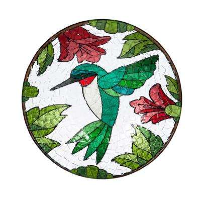 Hummingbird 18 in. Crushed Glass Look Birdbath
