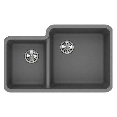 Quartz Classic Undermount Composite 33 in. 40/60 Double Bowl Kitchen Sink in Greystone