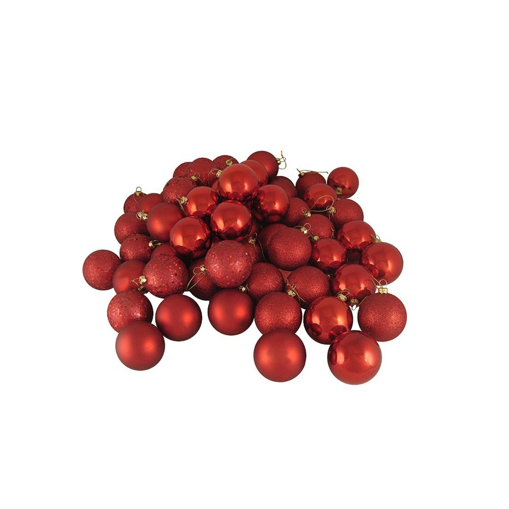 Northlight Red Hot 4-Finish Shatterproof Christmas Ball Ornaments (24-Count)