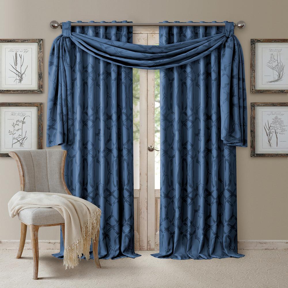 Darla Navy Polyester Single Blackout Window Curtain Panel - 52 in. W x 108 in. L