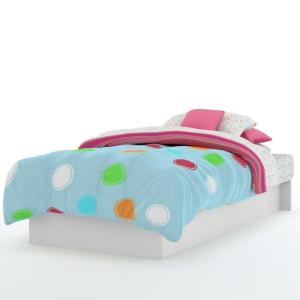Libra Twin-Size Platform Bed in Pure White