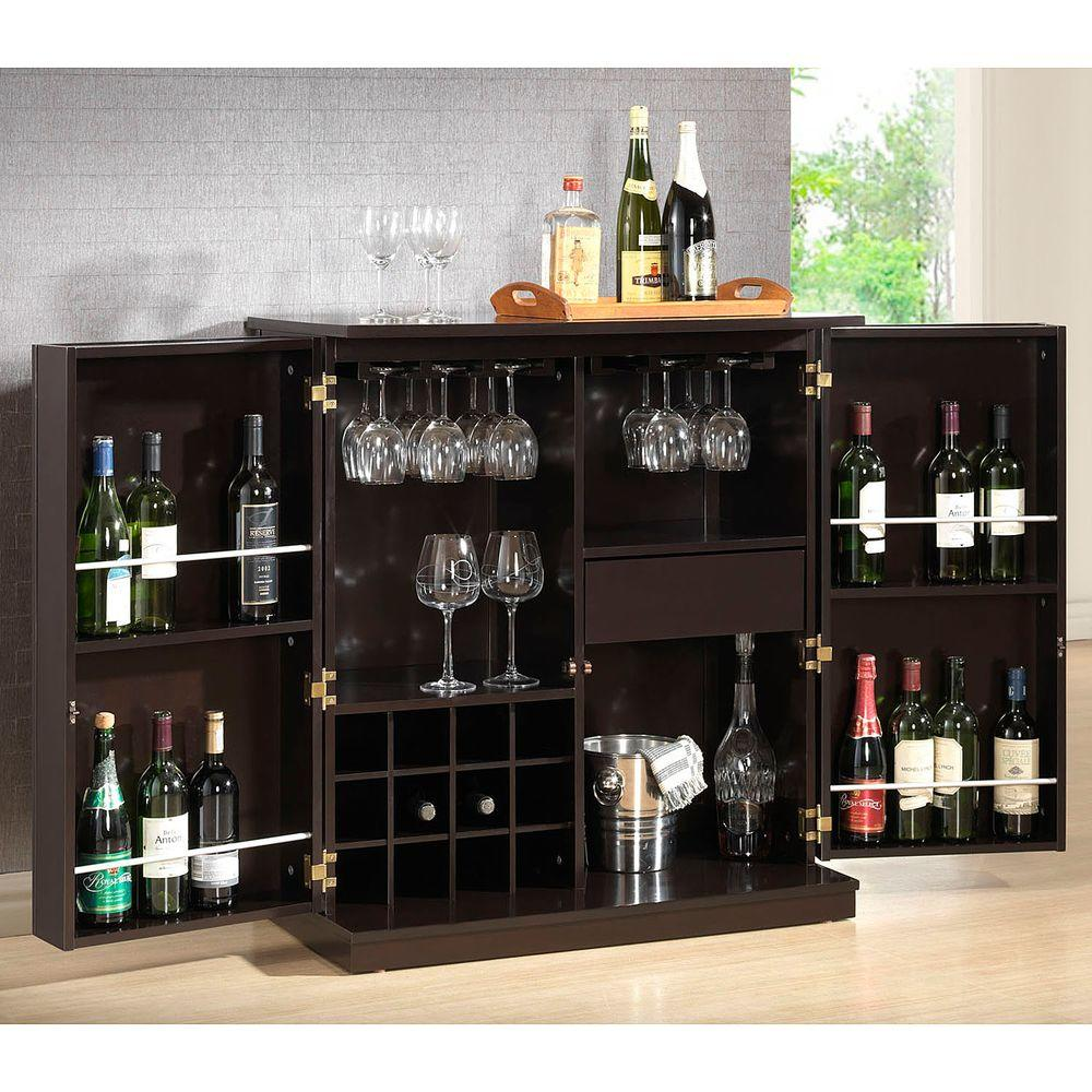 Stamford 12 Bottle Dark Brown Bar Cabinet