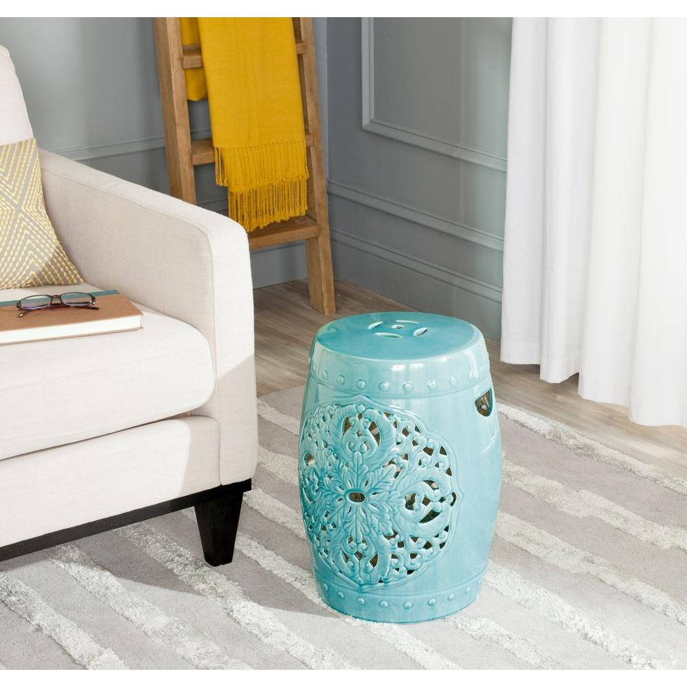 Flora Light Blue Ceramic Garden Stool