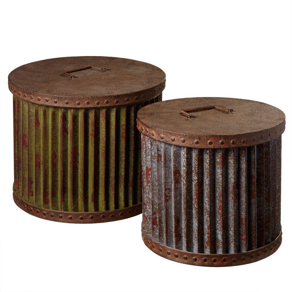 Filament Design Sundry 17.25 in. x 17.25 in. Metal Round Storage Container in Rust (Set of 2)