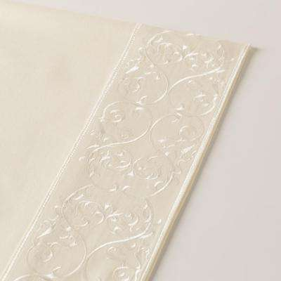4-Piece Ivory 400 Thread Count Embroidered Andrea Queen Sheet Set
