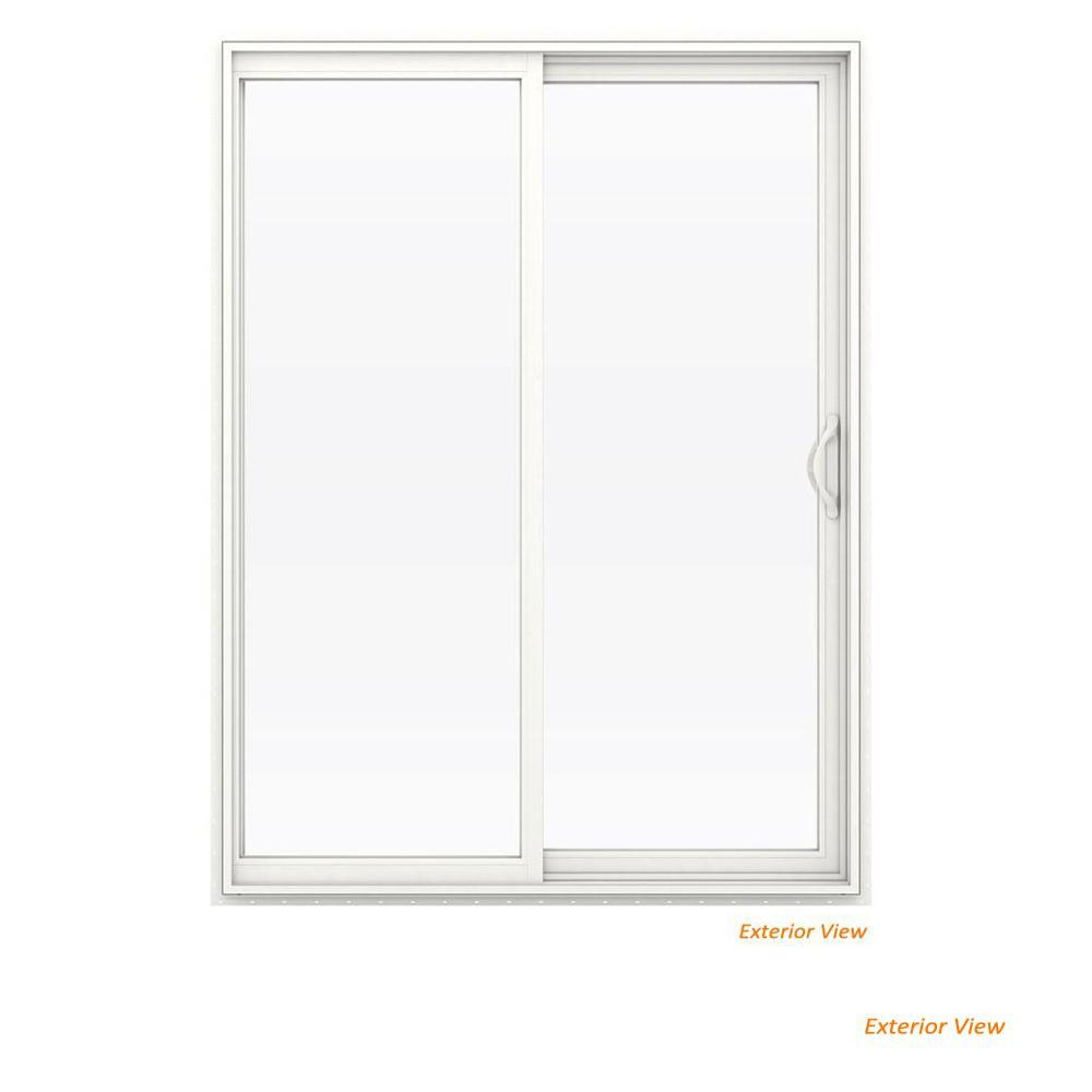60 in. x 80 in. V-2500 White Vinyl Right-Hand Full Lite Sliding Patio Door w/White Interior