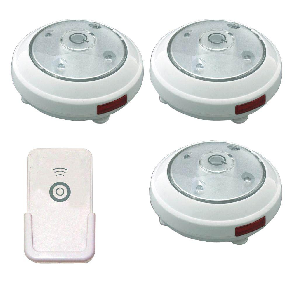 Rite Lite Led White Puck Light With Remote 3 Pack