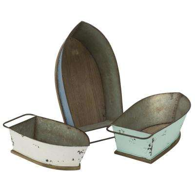 Distressed Metal Boat Shelf and Wall Decor (Set of 3)