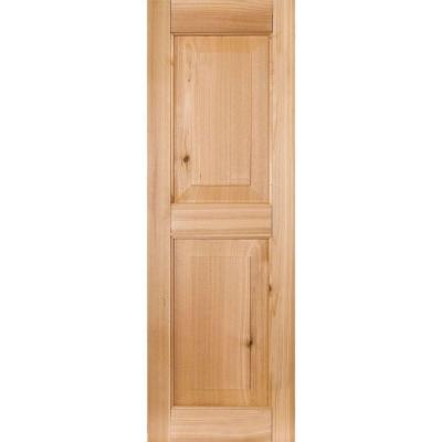 12 in. x 59 in. Exterior Real Wood Pine Raised Panel Shutters Pair Unfinished