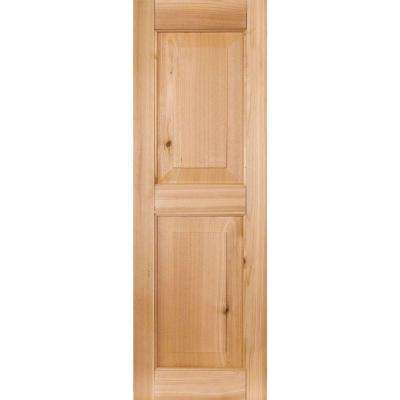 15 in. x 35 in. Exterior Real Wood Pine Raised Panel Shutters Pair Unfinished