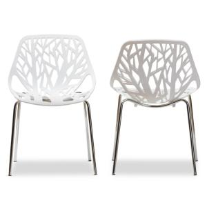 3 Baxton Studio Birch Sapling White Plastic Dining Chairs