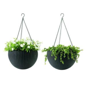 Keter 13.8 inch Dia Brown Resin Hanging Rattan Planter (2-Pack) by Keter