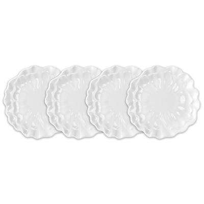 Peony 4-Piece 8.5 in. White Melamine Salad Plate Set