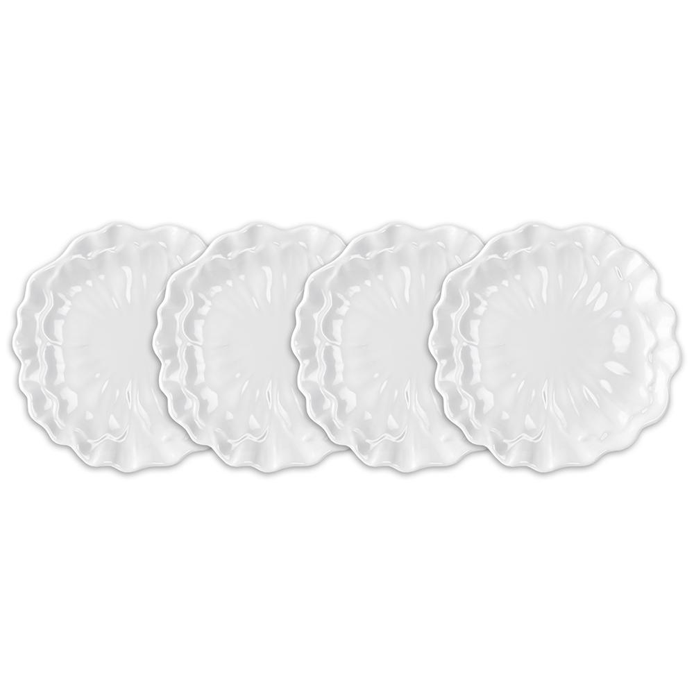 Peony 4-Piece 8.5 in. White Melamine Salad Plate Set