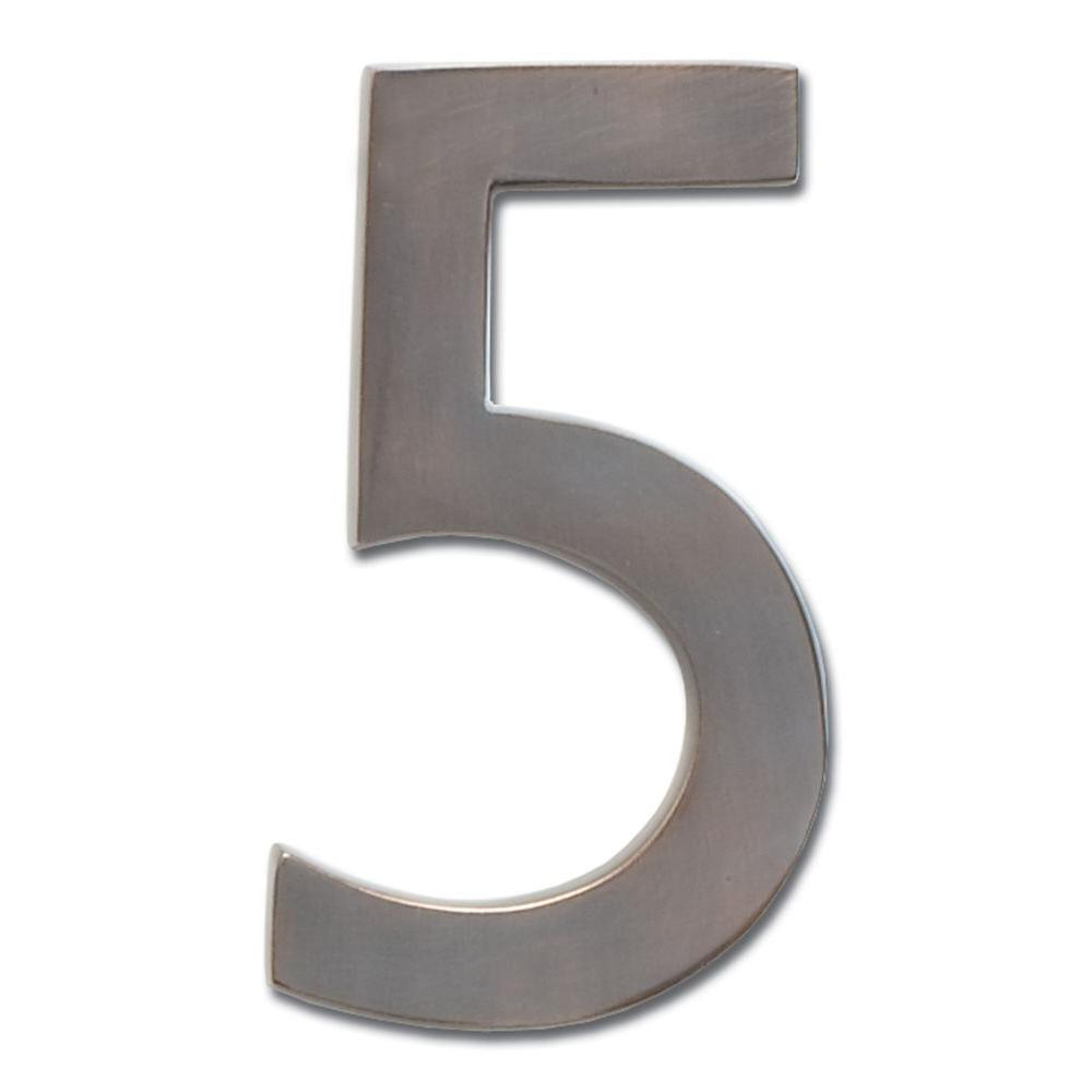 4 in. Dark Aged Copper Floating House Number 5