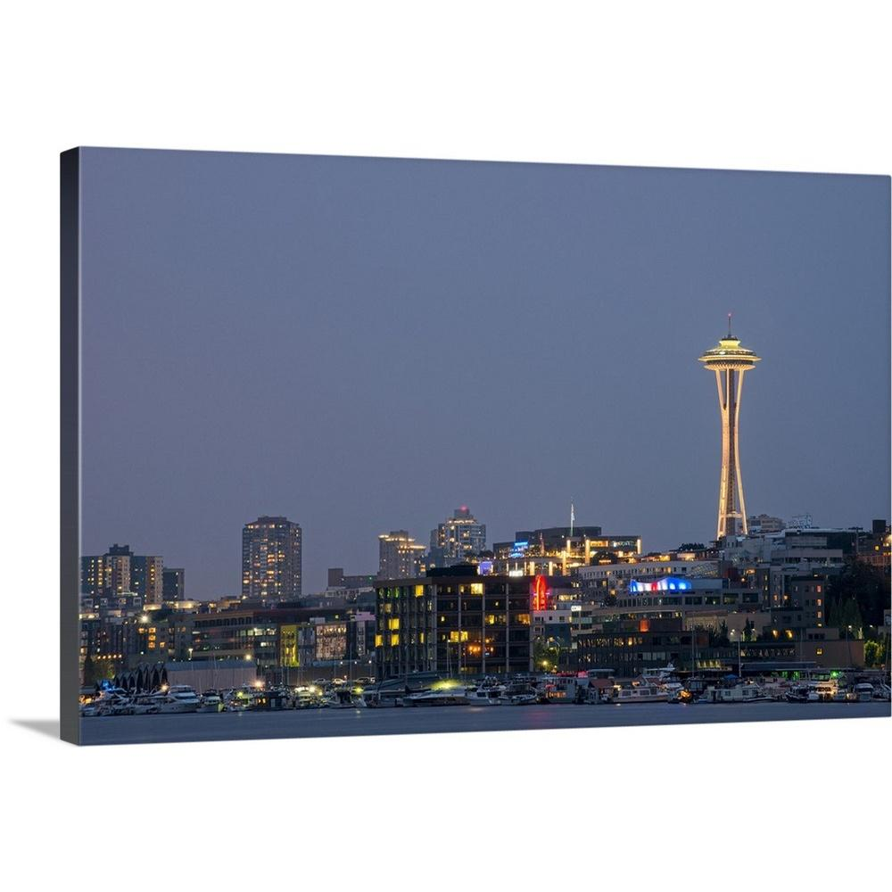 greatbigcanvas seattle skyline at night by circle capture canvas
