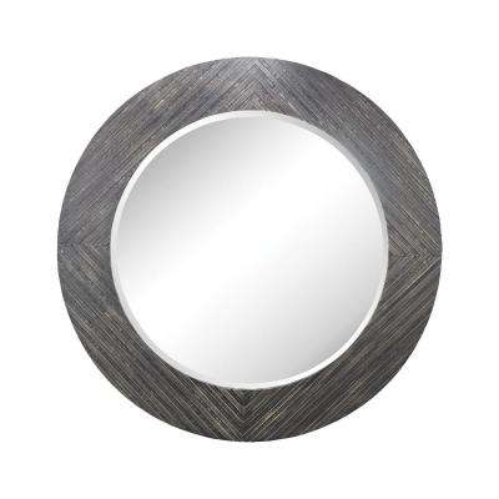 Blackwall 64 in. Round Wood In Black Ash Framed Mirror