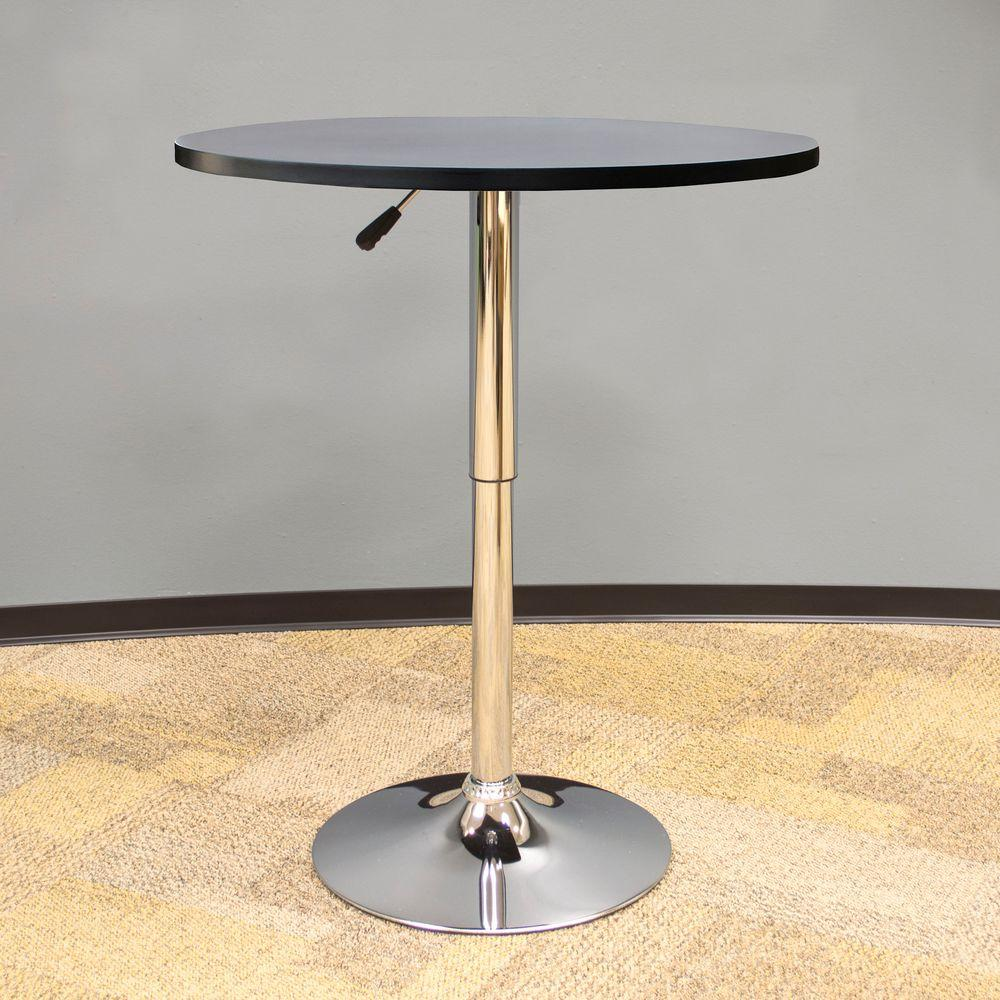 AmeriHome Vintage Style 24 In. Round Adjustable Height Bar Table In Black