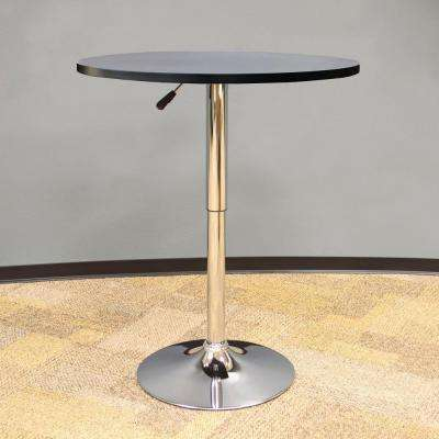 Vintage Style 24 in. Round Adjustable Height Bar Table in Black