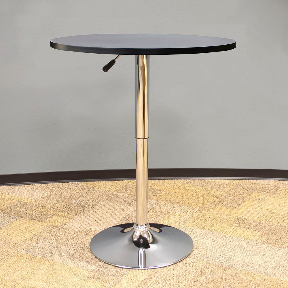 Fine Vintage Style 24 In Round Adjustable Height Bar Table In Black Customarchery Wood Chair Design Ideas Customarcherynet