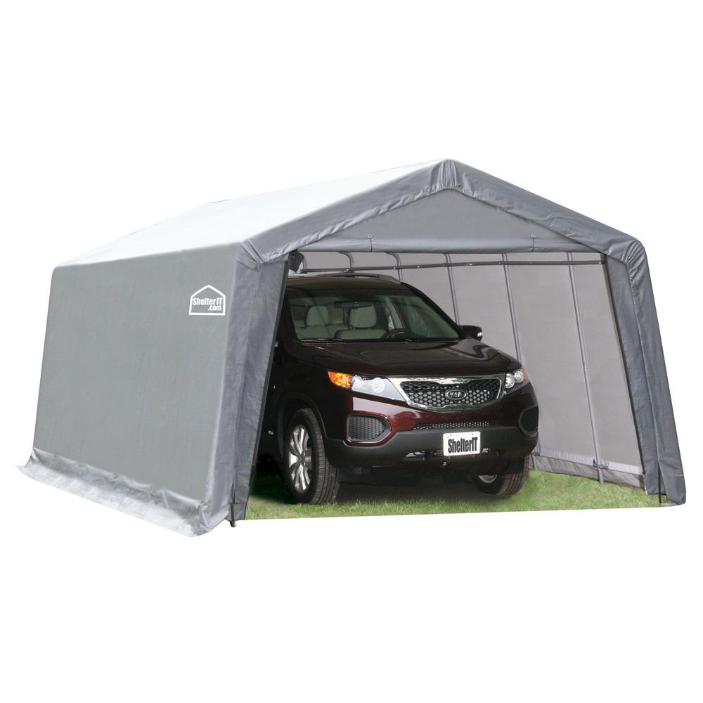 12 ft. W x 24 ft. D x 8 ft. H Steel Frame Polyethylene Instant Garage/Shed without Floor