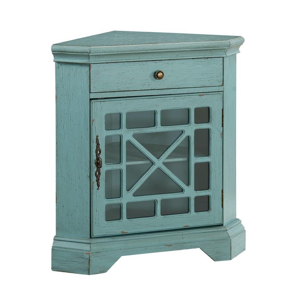 Bayberry Blue Rub-through 1-Drawer 1-Door Corner Cabinet