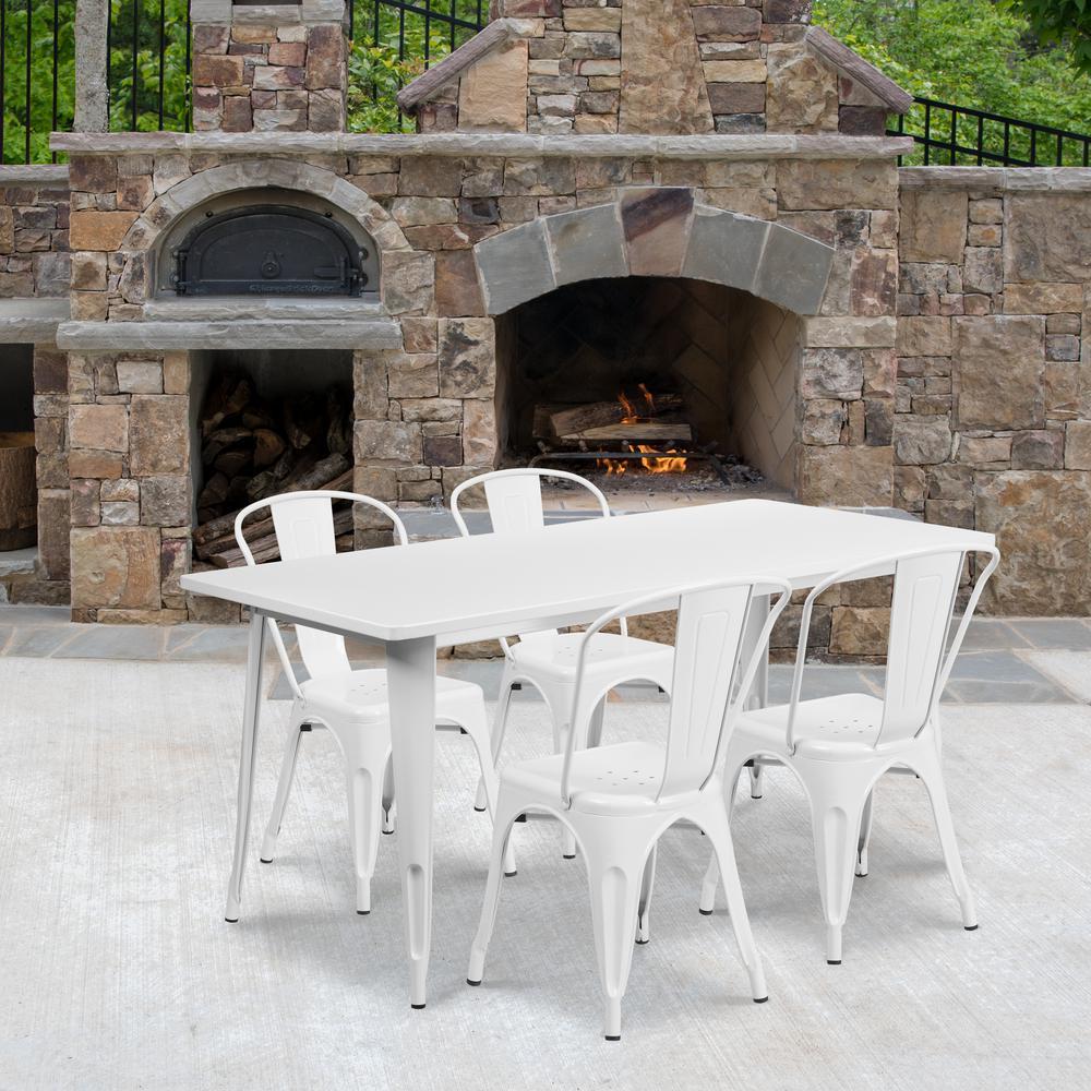 White 5-Piece Metal Rectangle Outdoor Bistro Set