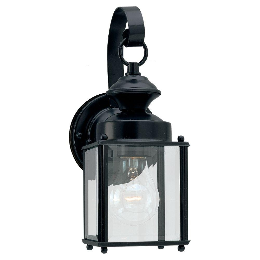 Sea Gull Lighting Jamestowne 1-Light Black Outdoor Wall Fixture