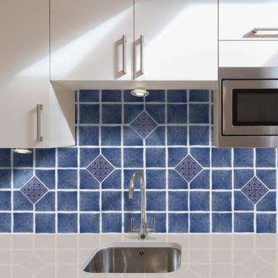 Vinyl 4 in. x 4 in. Blue Self-Sticking Wall/Decorative Wall Tile (27 Tiles per Box)